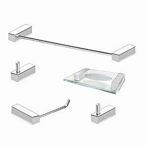Kit de Acessórios Para Banheiro Aço Inox 5 Peças 302VIP