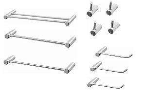 Kit de acessórios para banheiro Metal Luxo Slim 10 peças Grego Metal