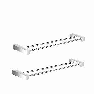 Porta Toalhas Duplo em Metal Kit 2 Peças Prátika 805PK2