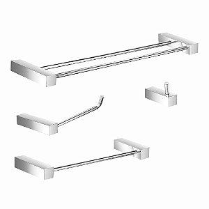 Kit Acessórios para Banheiro Toalheiro Duplo Prátika 824PK