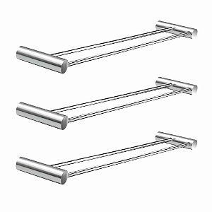 Porta Toalhas Duplo 40 cm (Kit 3 Peças) Luxo 529LP3 Plus