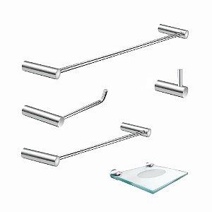 Acessórios Para Banheiro Metal 5 Peças Luxo Slim 500LSB
