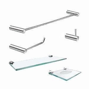 Kit de Banheiro com Prateleira 5 peças Luxo Slim 501LSC
