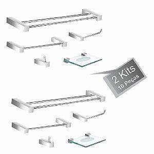 kit Acessórios Para Banheiro 2 Kits (10 Peças) 800PK2 Prátika