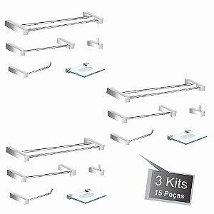 Kit Acessórios Para Banheiro 3 Kits (15 Peças) 800PK3 Prátika