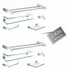 Kit Acessórios Para Banheiro 2 Kits (10 Peças) 802PK2 Prátika