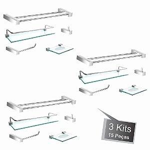 Kit Acessórios Para Banheiro 3 Kits (15 Peças) 802PK3 Prátika