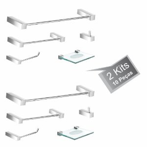 Kit Acessórios de Banheiro 2 Kits (10 Peças) 812PK2 Prátika