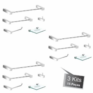 Kit Acessórios de Banheiro 3 Kits (15 Peças) 812PK3 Prátika