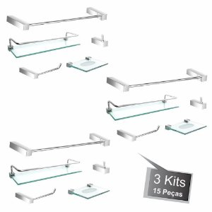 Kit Acessórios de Banheiro 3 Kits (15 Peças) 814PK3 Prátika