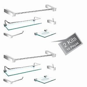 Kit Acessórios de Banheiro 2 Kits (10 Peças) 814PK2 Prátika