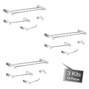 Kit Acessórios para Banheiro 3 Kits (12 Peças) 824PK3 Prátika