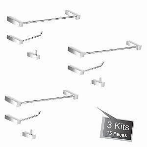 Kit Acessórios para Banheiro 3 Kits (9 Peças) 826PK3 Prátika