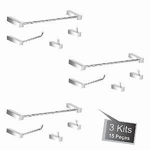 Kit Acessórios para Banheiro 3 Kits (12 Peças) 827PK3 Prátika