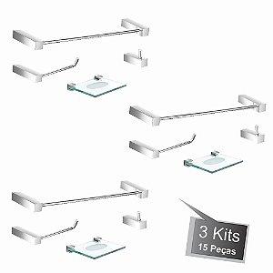 Kit Acessórios para Banheiro 3 Kits (12 Peças) 828PK3 Prátika