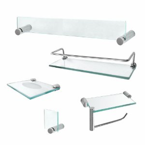 Kit para Banheiro Acessórios Vidro Prateleira Retrô 203RT