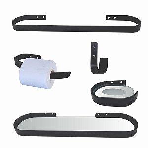 Kit Acessórios para Banheiro Metal Preto Fosco 907DS Design