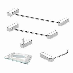 Kit de Banheiro em Aço Inox polido 5 Pçs 336VIP Grego Metal