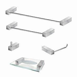 Kit Acessórios Para Banheiro em Aço Inox Escovado 5 Peças 337VIP