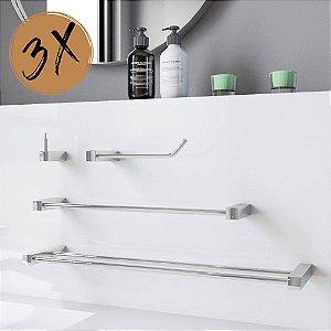 Kit Acessórios de Banheiro 3 Kits (12 Peças) 824PK3 Prátika