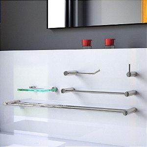 Kit de Banheiro Toalheiro Duplo 5 Peças Luxo Plus 502LP