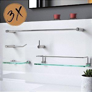 Kit Acessórios Para Banheiro (3 Kits) 15 Peças Slim 502LS3