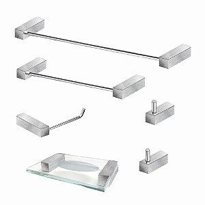 Kit Para Banheiro em Aço Inox Escovado 6 Peças 340VIP Grego