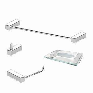 Kit de Banheiro em Aço Inox 4 Peças Alto Padrão 327VIP