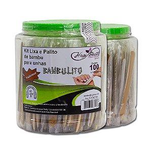 Kit Lixa e Palito de Bambu - 100 Unidades