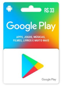Google Play Gift Card (BR) Android R$ 33,00