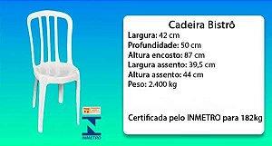 Kit com 40 Cadeiras Bistrô Branca Sem Apoio de Braço 182kg