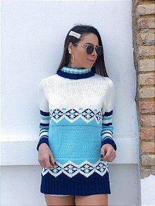 Tricot Boho Gola Alta - Azul