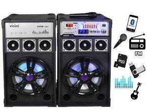 Caixa Som Amplificador 300w  220v 110v Usb Bluetooth Audio