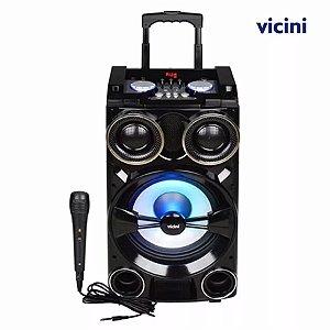Caixa De Som Com Bluetooth Karaoke 100w Portátil Rodinhas