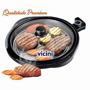 Grill Vicini Redondo Maxi Grill Tampa De Vidro 110v