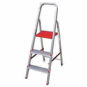 Escada Alumínio 3 Degraus Dobrável Casa Obra Indicado 120 Kg