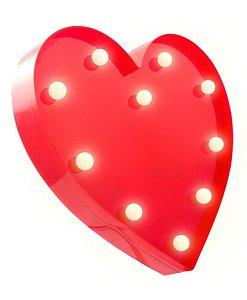 Luminária Abajour Coração Led 3d A Pilha Decoração Festa