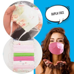 Máscara Tecido Elástico Reutilizável Lavável Dupla Camada
