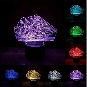 Luminária de Mesa de LED 3D Criativa Navio Caravela / Luz Noturna Decorativa