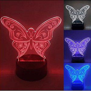 Luminária de Mesa de LED 3D Criativa Borboleta / Luz Noturna Decorativa