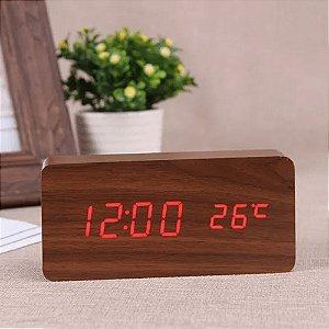 Relógio Despertador Mesa Digital Madeira Data Temperatura
