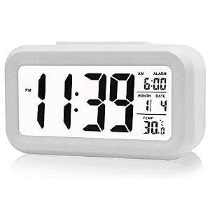 Relógio de Mesa Portátil Digital Despertador Led Lcd Brilha Escuro
