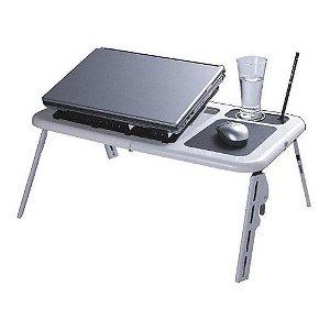 Mesa Notebook com Cooler Dobrável e Ajustável com Formato Ergonômico Suporte para Copo Base