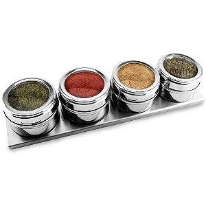 Porta Temperos E Condimentos Magnético Inox 4 Potes Com Imã