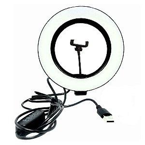 Iluminador Ring Ligth Anel Luz 26cm Led Fotos Mak Tipo Aro Cor Branca Quente e Fria