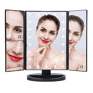 Espelho Camarim 22 Leds Para Maquiagem 3 Lados Aumenta Portátil Rotação