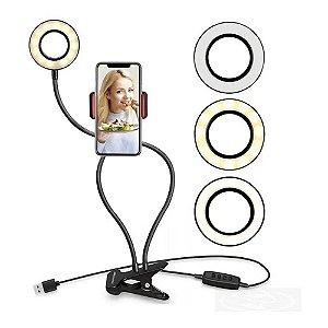 Ring Light De Mesa Iluminador Led Com Suporte Celular Youtuber 2 Em 1