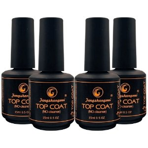 Kit 4x Selante Top Coat Fengshangmei Pretinho do Poder Porcelana Acrigel Extra Brilho Led UV
