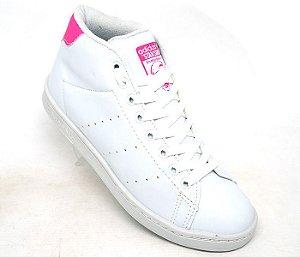 06da60ede11 Tênis Adidas Stan Smith Cano Alto Branco e Rosa
