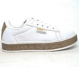 6d68cd8610f Tênis Puma Fenty by Rihanna Branco com Glitter Dourado